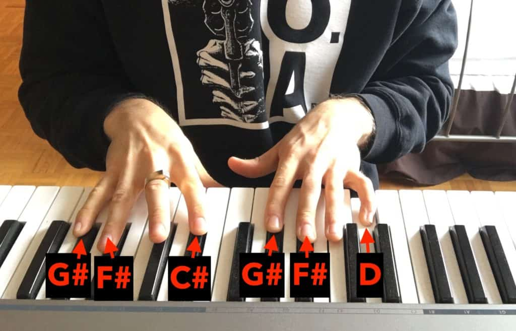 guitar chords on the piano