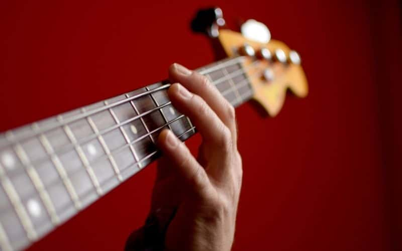Bass Guitar Playing One Note