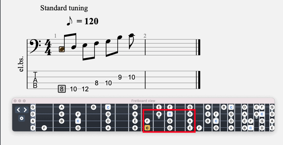 C Major Scale on Bass
